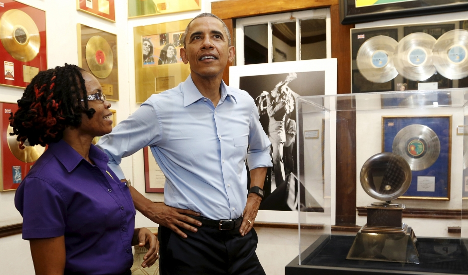 US President Barack Obama gets a tour of the Bob Marley Museum in Kingston, Jamaica.