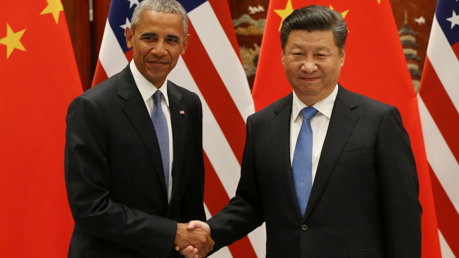 President Barack Obama and Chinese President Xi Jinping shake hands during their meeting ahead of the G20 Summit at the West Lake State Guest House in Hangzhou, China.