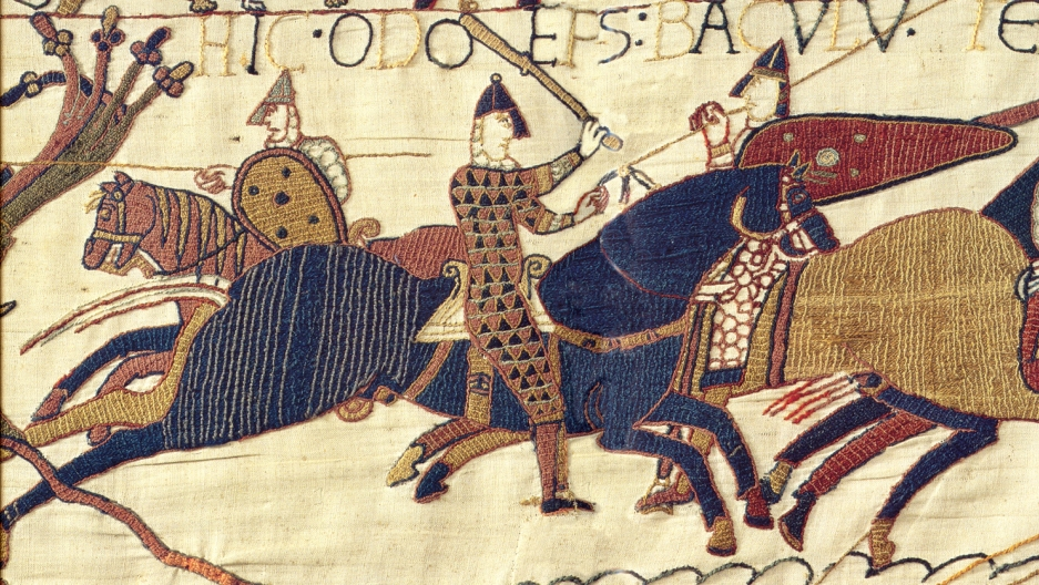 A section of the Bayeux Tapestry depicting a scene in the decisive Battle of Hastings in 1066