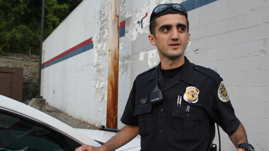 "Jiyayi Suleyman, 26, is Nashville's first Kurdish American police officer. ""I took this job to bridge the gap between not only the Kurdish community but the Muslim community with the police department,"" Suleyman says. ""I wanted to be that one guy that mak"