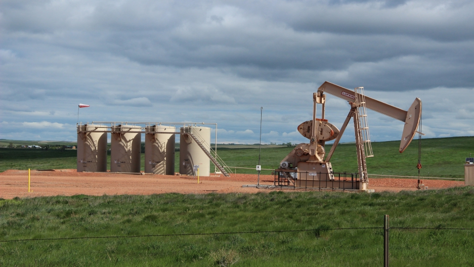 Oil wells dot the rural, agricultural landscape surrounding Williston, North Dakota. The Bakken formation has become one of the largest sources of new oil production in the US.