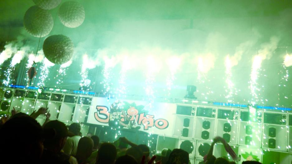 Pyrotechnics at the Resistência Funk da Antiga show held in Brás de Pina, in Rio de Janeiro's North Zone, last month.