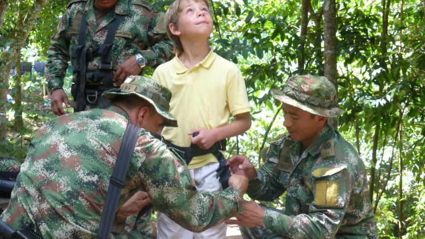 Colombian soldiers at La Macarena with John Otis's son, Martin.