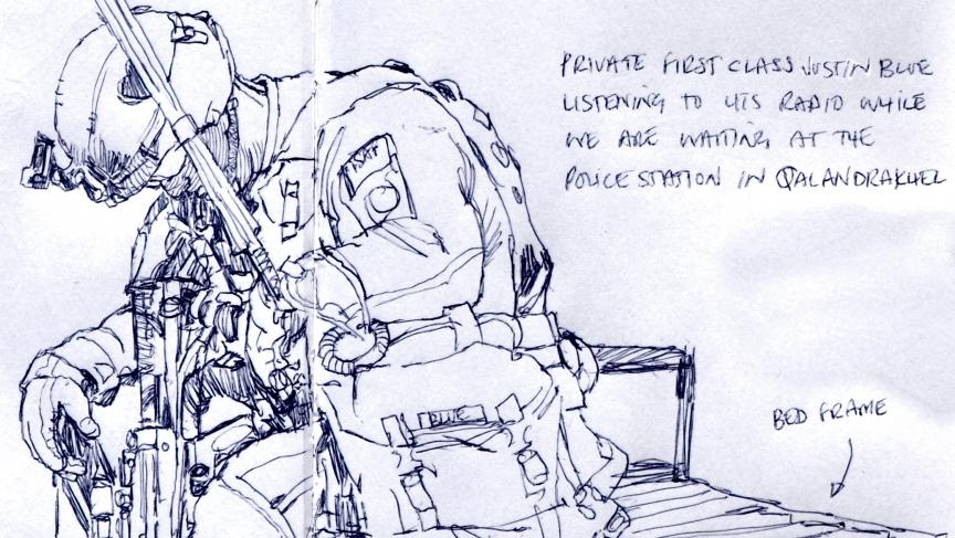 Graphic artist Richard Johnson sketches to document the war