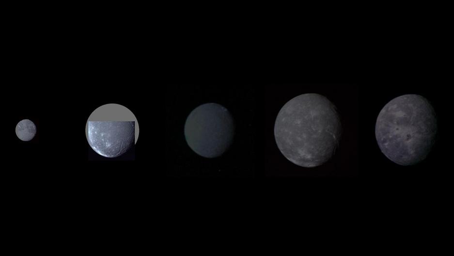 Five moons of Uranus