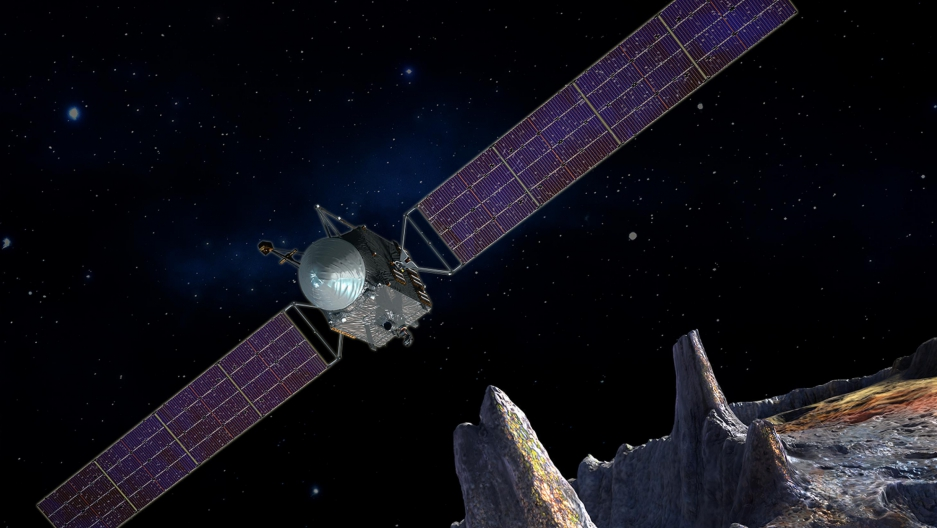 An artist's concept of the Psyche spacecraft.