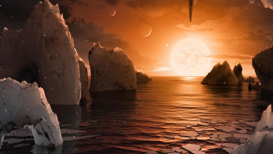 An artist's rendering of the surface of exoplanet TRAPPIST-1.