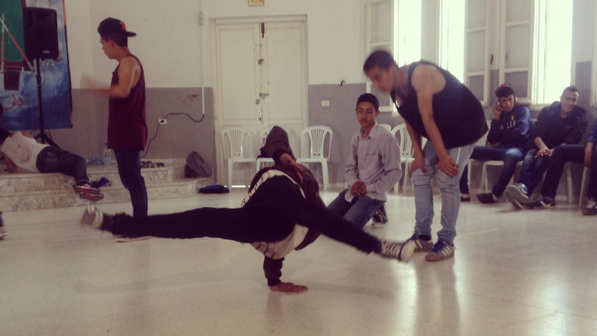 Nidhal Bouallagui's breakdance troupe practices their moves.