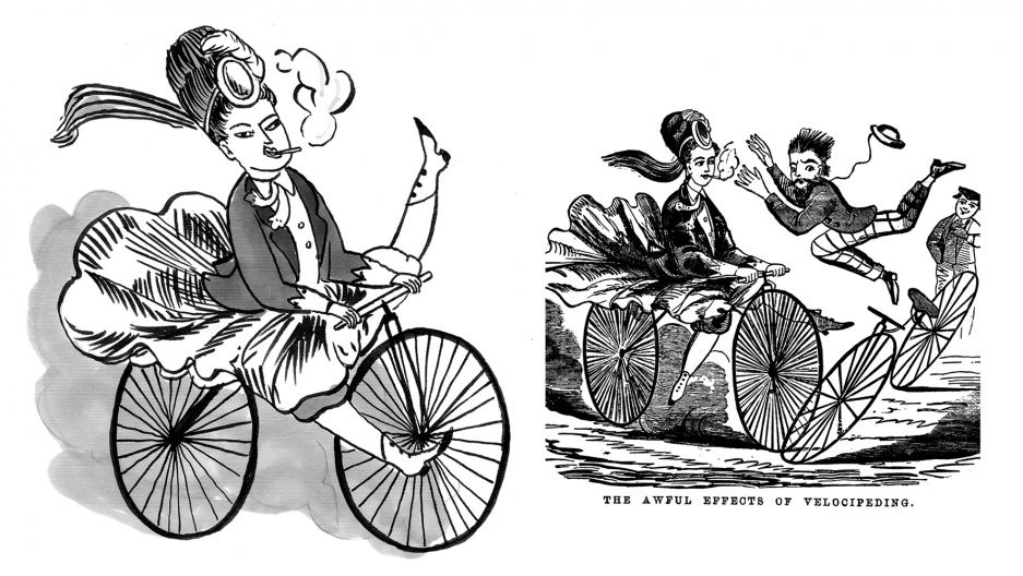 A woman on a bicycle speeds toward a man.