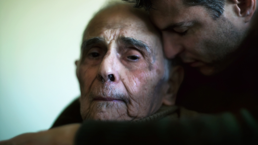 """Phil Toledano hugs his father in a photo from his book, """"Days With My Father."""""""
