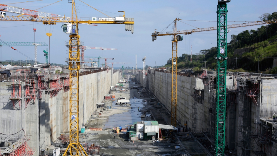 A view of the construction site of the Panama Canal Expansion project in January 2014.