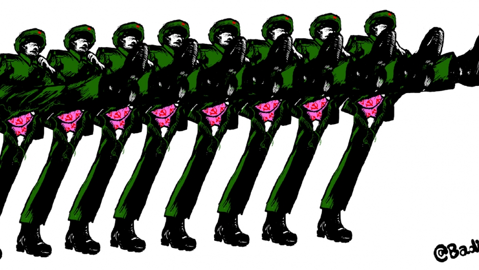 "Badiucao's political cartoon titled, ""Parade."" It depicts soldiers high-stepping in formation and exposing their pink underwear. (September 2nd, 2015.)"