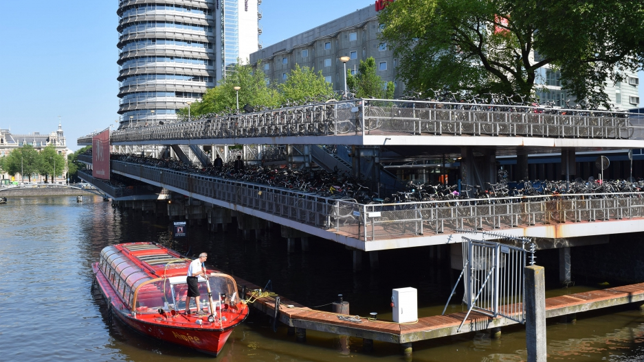 A bike parking lot at Amsterdam Centraal Station
