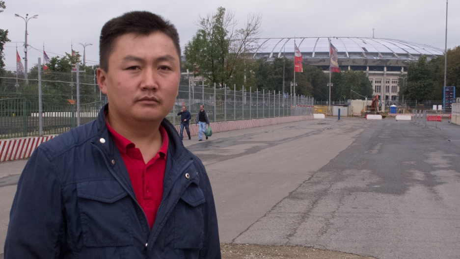 Eric Dzhakhpevych, 31, left Kyrgyzstan to work at Luzhniki Stadium in Moscow where fans will watch the opening match of the 2018 World Cup. Dzhakhpevych is one of many migrant workers who say they were victims of wage theft at Russia's World Cup sites.