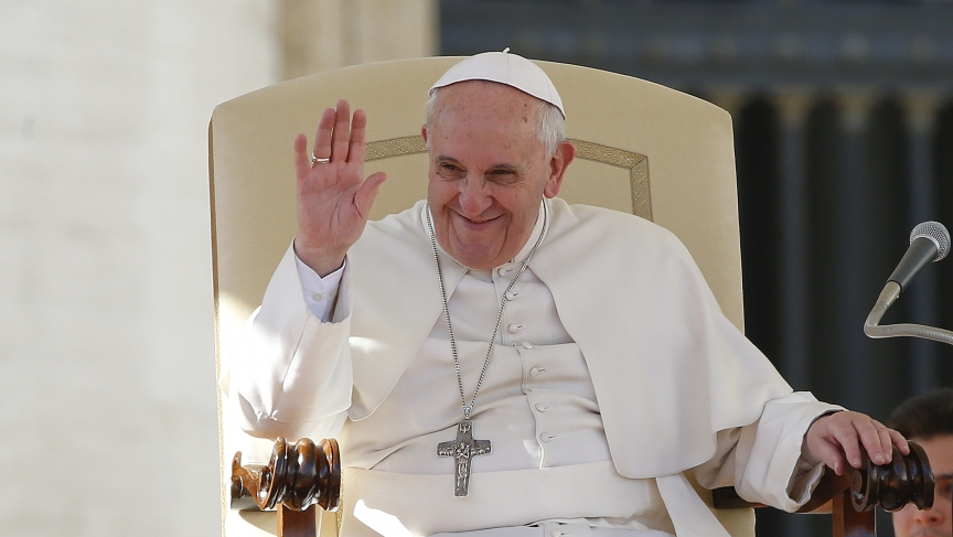 Pope smiling in Feb 2014