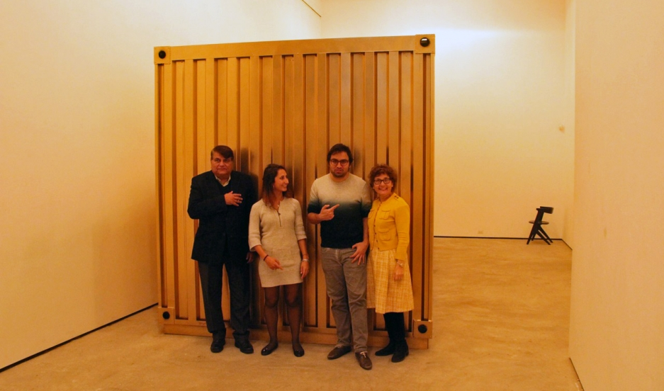 Amar Bakshi (second from right), the lead artist on the Portal Between Tehran and NYC; and Michelle Moghtader (second from left), the project's development director. Bakshi says his mother and uncle, also seen here, helped out a lot too.