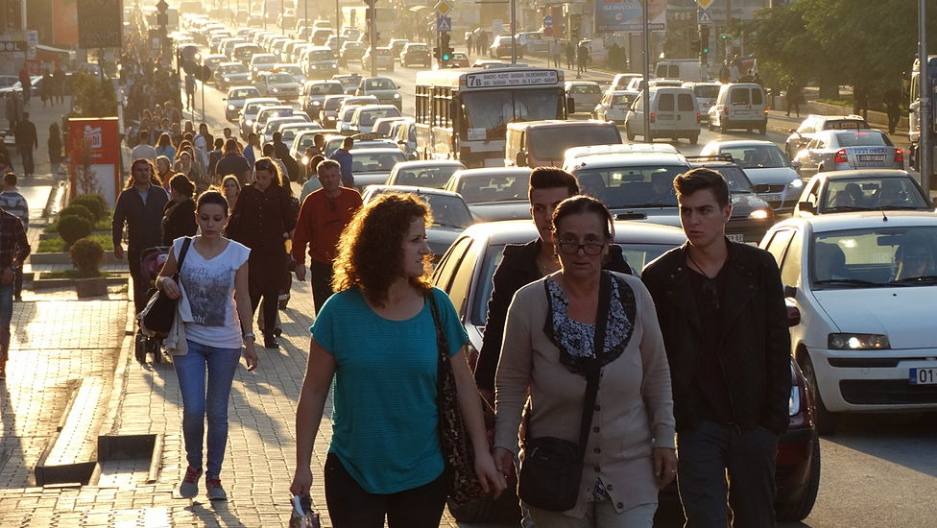 Women walking in Pristina, Kosovo.