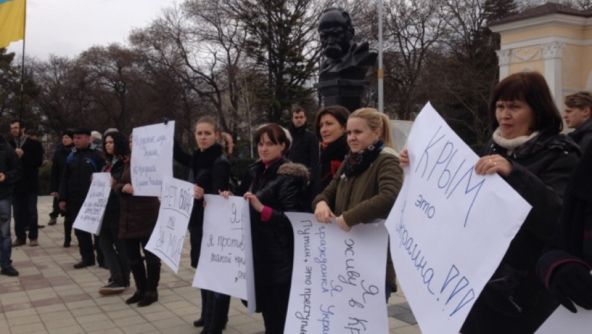 Protestors in the Crimean city of Simferopol come out support of the new government in Kiev.