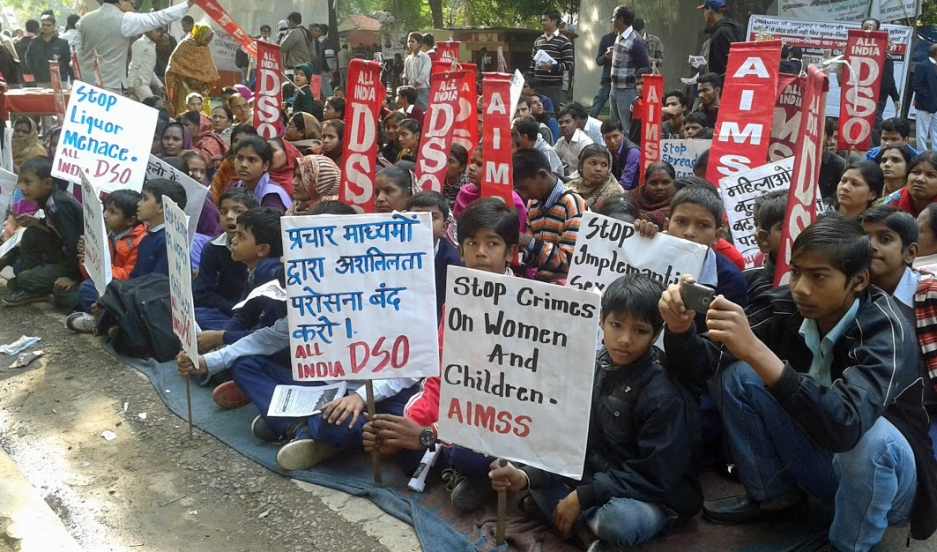 Many students attended a demonstration demanding laws that make India safer for women and children.