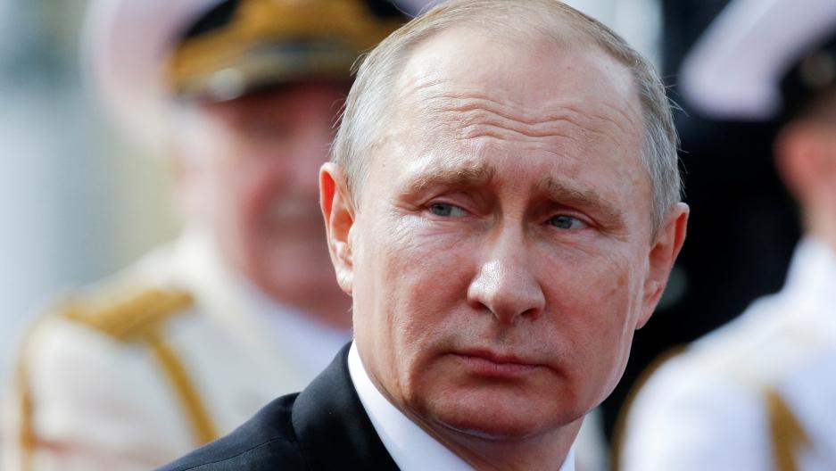 A close up photograph of Russian President Vladimir Putin