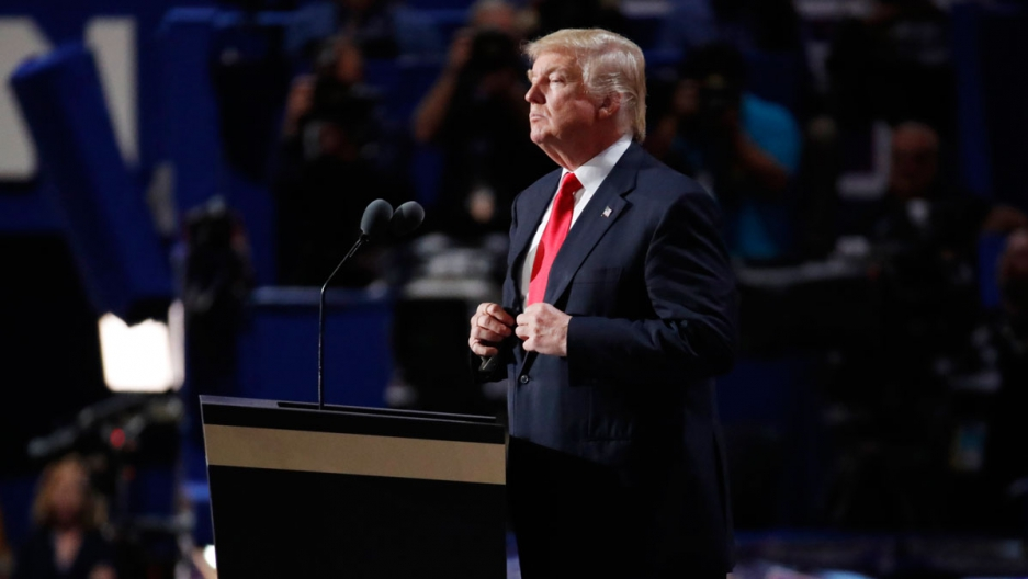 Republican Presidential Nominee Donald Trump pauses during his speech at the Republican National Convention in Cleveland.