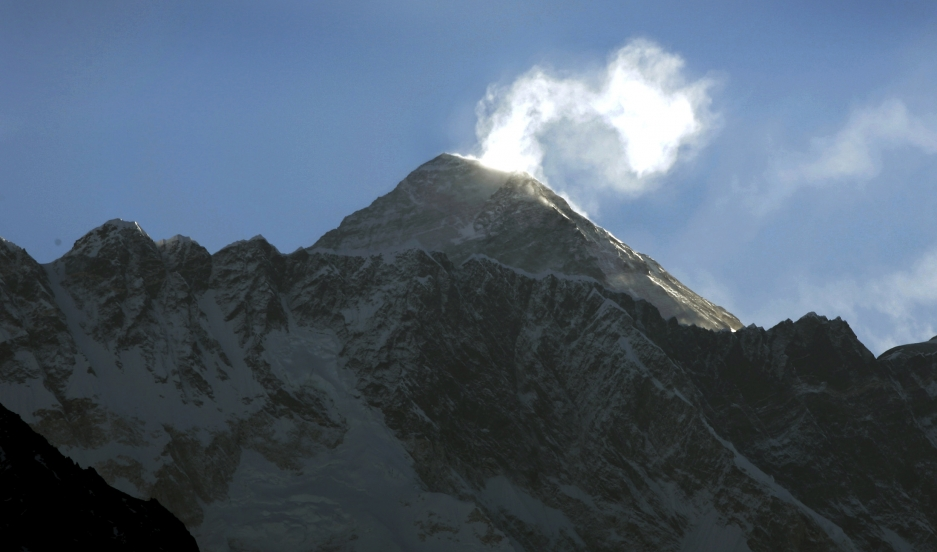 Mt. Everest, the world's highest mountain, is seen from the viewing point at Lukla in northern Nepal.