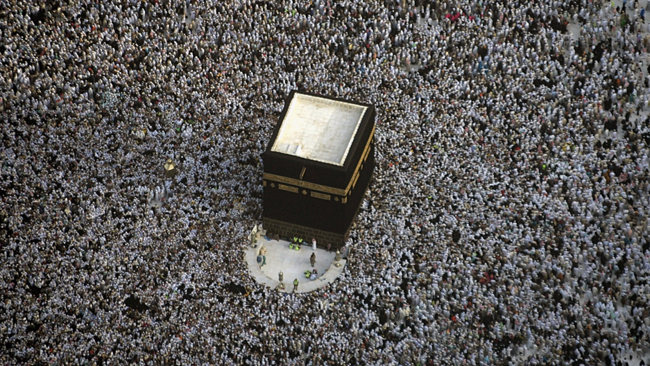 An aerial view of the Haj pilgrimage in Mecca