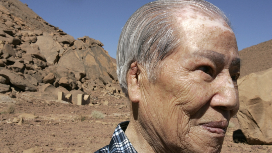 Hiroshima survivor Sunao Tsuboi is seen at a French nuclear test site in In-Ekker near Ain Meguel, February 16, 2007.