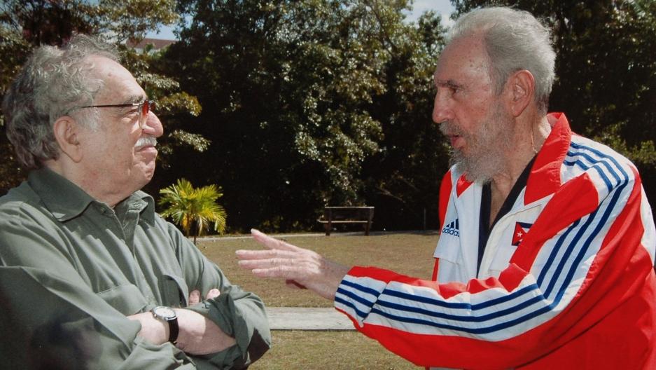 Cuba's President Fidel Castro (R) talks to Colombian writer Gabriel Garcia Marquez in this file photo taken on March 12, 2007 in Havana, Cuba.