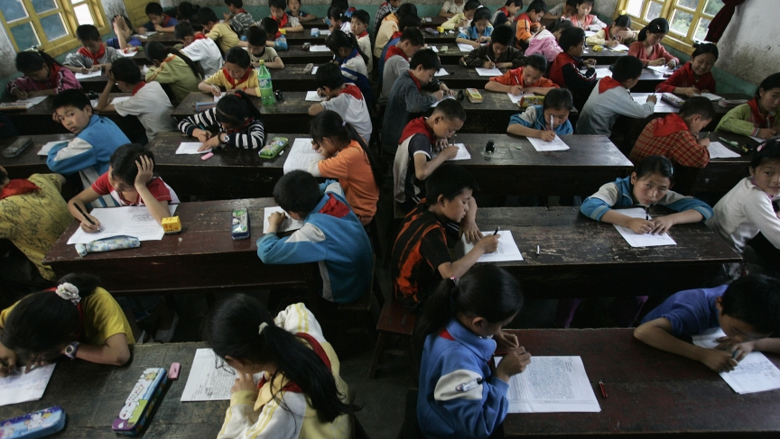 In China, the education system puts great emphasis on rote memorization. And students of all ages take lots and lots of exams.
