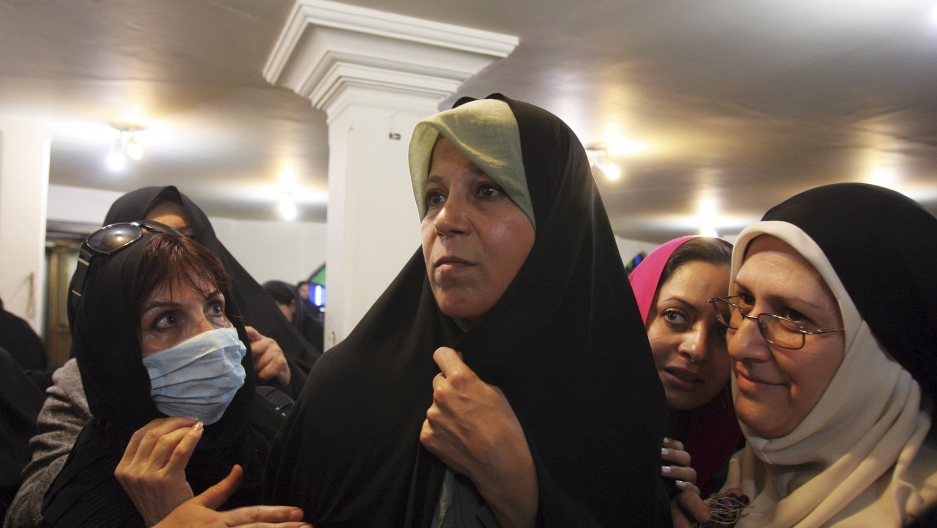 Faezeh Rafsanjani, the daughter of former Iranian president Akbar Hashemi Rafsanjani, at a protest at the Ghoba mosque in northern Tehran in 2009.