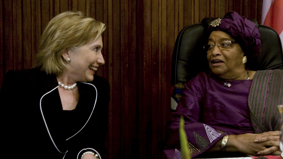 US Secretary of State Hillary Clinton traveled to Liberia to support President Ellen Johnson-Sirleaf, Africa's only female president.