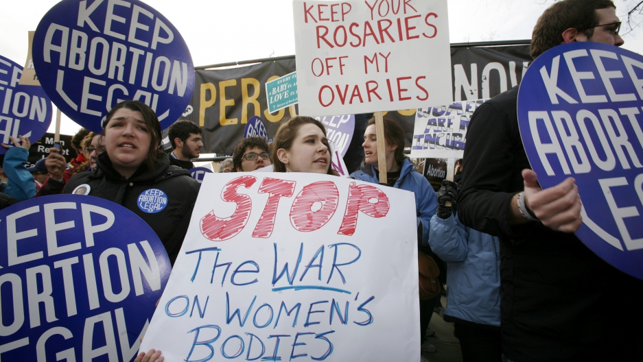 Pro-choice activists demonstrate during March for Life Fund's 37th annual march marking the anniversary of the Supreme Court's 1973 Roe v. Wade abortion decision in Washington January 22, 2010