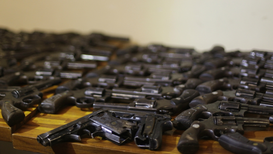 Guns delivered during a disarmament campaign are displayed in Rio de Janeiro, Brazil, May 6, 2011.