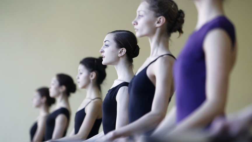 Texas native Joy Womack (center) at a lesson at the Bolshoi Ballet Academy in January 2012. Womack was the first American to graduate from the Moscow academy, and she joined the Bolshoi Ballet Company right after.