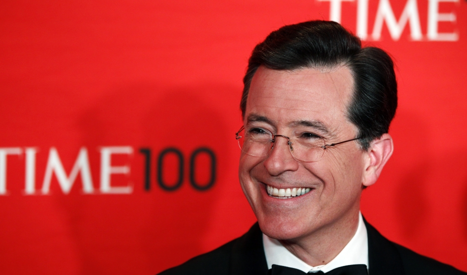 Comedian Stephen Colbert arrives to be honored at the Time 100 Gala in New York, on April 24, 2012.