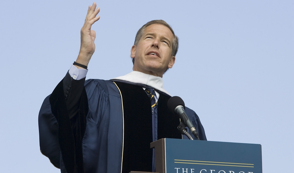 NBC News anchor Brian Williams delivers remarks after receiving an honorary doctorate at George Washington University in 2012.