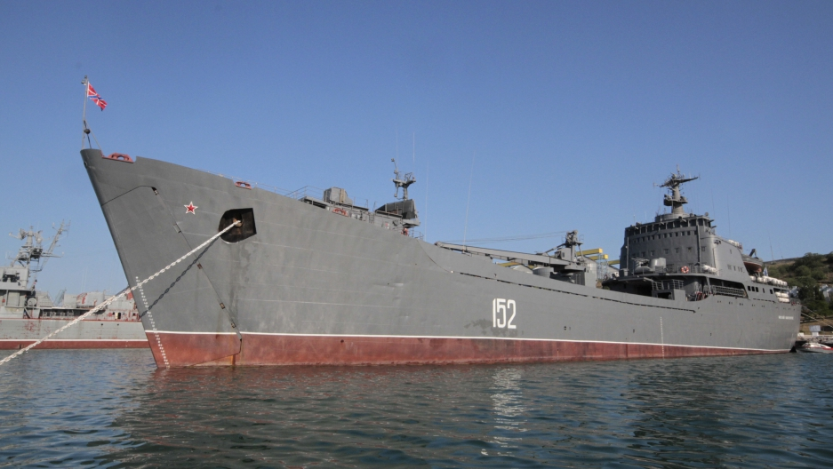 "Russian Navy amphibious landing vessel ""Nikolai Filchenkov"" is docked at the Ukrainian Black Sea port of Sevastopol, June 19, 2012. The vessel is in the state of instant readiness for departure on a mission to the Syrian port of Tartus."