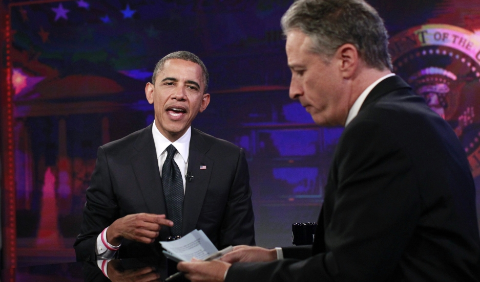 Jon Stewart interviews President Barack Obama in 2012.