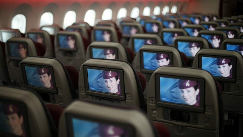 The cabin of a Qatar Airways Boeing 787 Dreamliner. Passengers flying Qatar Airways will no longer be able to carry on electronic devices larger than a cell phone when flying to the US.