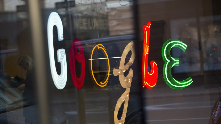 The Google signage is seen at the company's offices in New York January 8, 2013. Google is among several tech giants participating in Wednesday's Day of Action.
