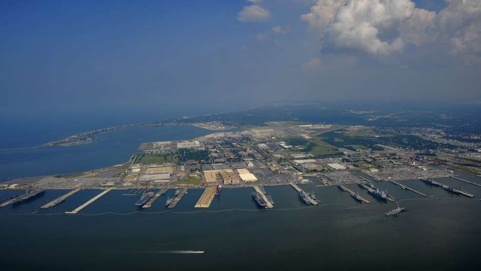 Aerial photo of Naval Station Norfolk