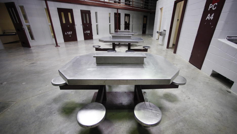 The interior of an unoccupied communal cellblock is seen at Camp VI, a prison used to house detainees at the U.S. Naval Base at Guantanamo Bay, March 5, 2013.