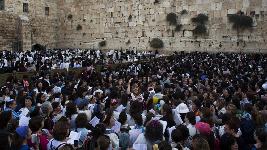 Members of the Women of the Wall group take part in their monthly prayer session at the Western Wall in Jerusalem's Old City.