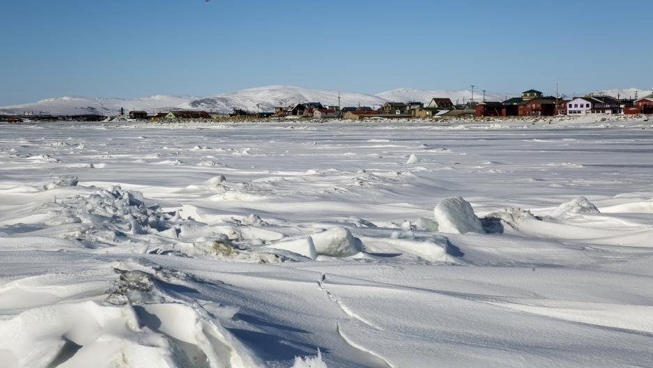 Frozen ice Bering Sea