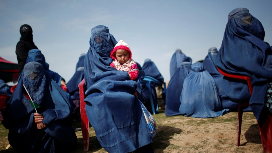 Women turned out for an election campaign event in Kunduz province, northern Afghanistan last year.