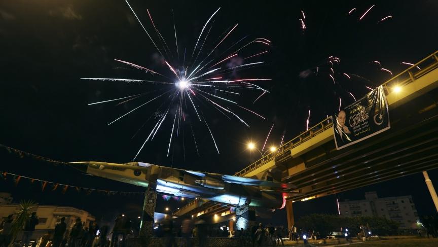 Fireworks mark the third anniversary of the killing of Libyan dictator Muammar Gaddafi.