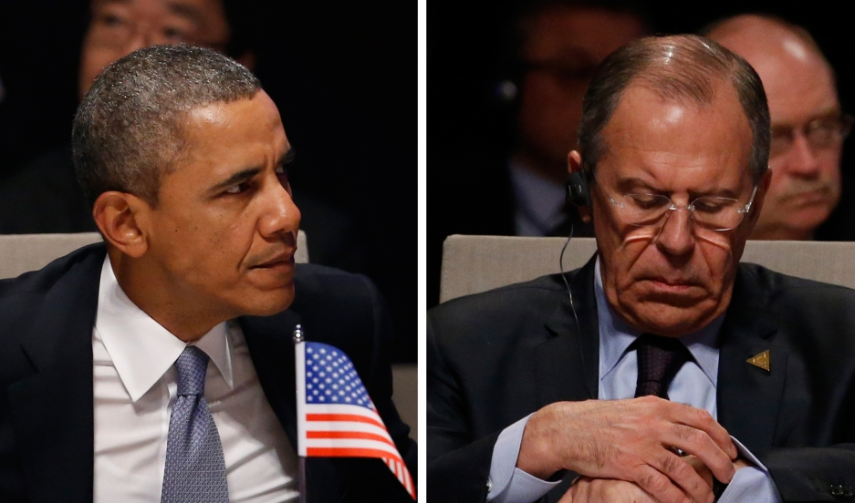 President Barack Obama and Russia's foreign minister, Sergey Lavrov, are seen in this combination photo as they attend the opening ceremony of the Nuclear Security Summit in The Hague on March 24, 2014.