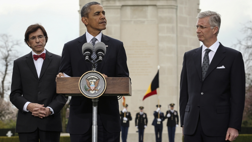"""President Obama reminded Europeans Wednesday that """"freedom isn't free,""""  while visiting a US World War One Cemetery in Waregem, Belgium. He is flanked by Belgium's King Philippe (R) and Belgium's Prime Minister Elio Di Rupo."""