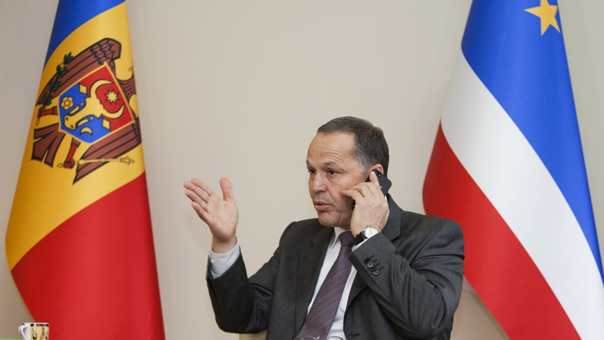 Mihail Formuzal, governor of the autonomous Moldovan province Gagauzia, speaks on the phone during an interview at his office in Comrat, the administrative centre of Gagauzia.